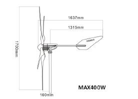 ابعاد توربین بادی Newsky مدل MAX 400W
