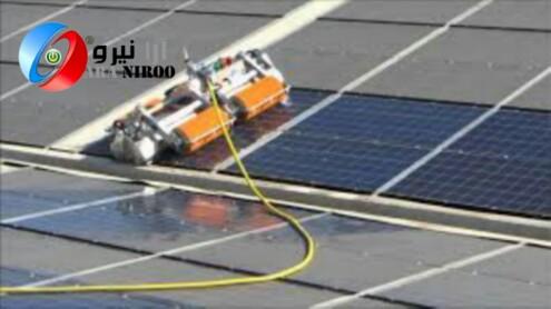 شستشوی پنل های خورشید با دستگاه رباتیک در مناطق بیابانی